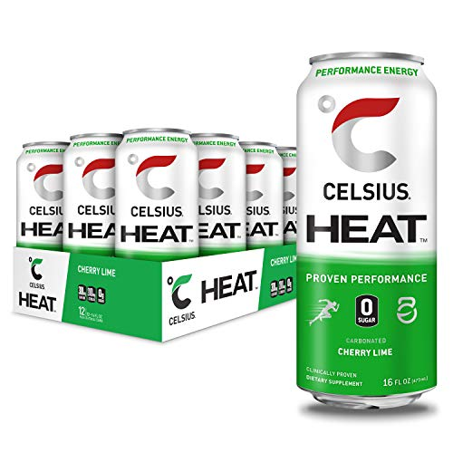 CELSIUS HEAT Cherry Lime Performance Energy Drink, Zero Sugar, 16oz. Can (Pack of 12)