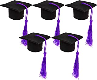 PRETYZOOM Graduation Cap Wine Toppers Mini Doctoral Hat with Tassels Wine Bottle Toppers Bottle Caps Covers for Graduation Party Supplies 5PCS