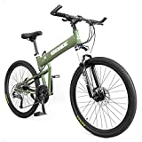 CLOUDH Folding Outroad Bicycles 24-Speed Bicycle Full Suspension MTB, Aluminum Alloy Hardtail Frame, Dual Disc Brakes, 26 Inch Lightweight Mountain Bike for Outdoor Adventures