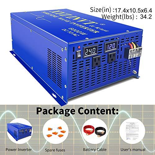 XYZ INVT 6000w Power Inverter Pure Sine Wave Inverter 24v dc to ac 110v 120v Peak 12000w Heavy Duty for Off Grid Solar Power System Home Emergency (6000w24v)