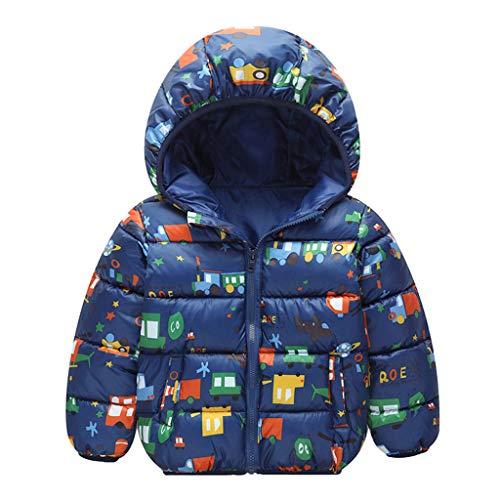 Allecne Kinder Junge Mädchen Ultraleichte Daunenjacke mit Kapuze Leicht Verpackbar Herbst Winter Warme Jacket Steppjacke Daunenmantel mit Cartoon drucken