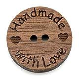 NaturSchatulle Holzknöpfe Motiv Handmade with Love | 5 Stück Nussbaum 2 Loch Knöpfe Holz DIY Basteln Nähen Schmuckherstellung Annähen Kinderknöpfe