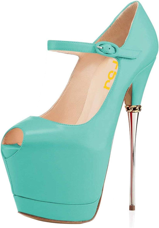 FSJ Kvinnor Sexiga Sexiga Sexiga Peep Toe Sky High klackar Platform Pumpar Ankle remmar Mary skor med Metal Stilettos Storlek 4 -15 USA  tillverkare direkt leverans