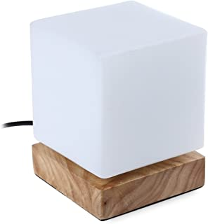 INJUICY Moderno Vidrio Lámparas de Escritorio de Madera Vaso Cubo Lámpara de Mesa Mesilla de Noche de Luz Del Escritorio p...