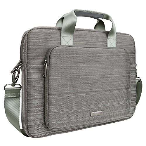 Laptop Bag Evecase 17.3 Inch Classic Padded Briefcase Messenger Case with Shoulder Strap and Handle for Laptop Notebook Chromebook Ultrabook - Gray