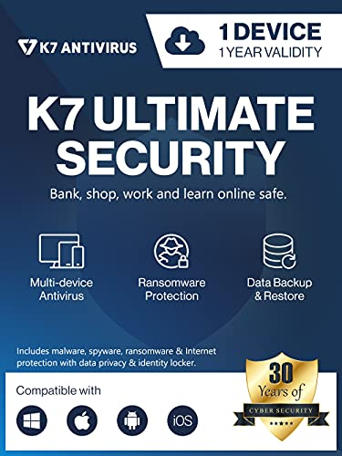 K7 Ultimate Security Antivirus Software 2021  1 Device,1 Year  Threat Protection, Internet Security,Data Backup,Mobile Protection Windows laptop,PC, Mac®,Phones,Tablets-Product Key