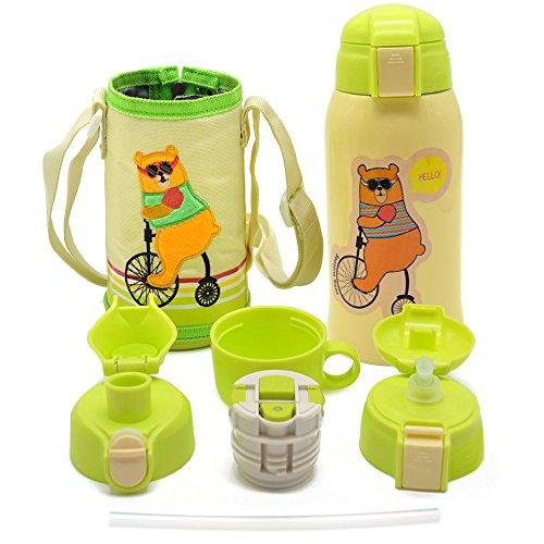 IGZOM Vakuum Thermosflasche,Doppelwandig Edelstahl Wasserflasche,Isolierflasche für Kinder,Familie 600ml Beige