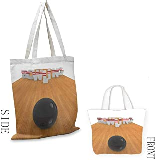 Bowling Party Decorations Washable shopping bag Bowling Alley with Skittles and Ball in Position Handmade shopping bags W15.75 x L13.78 Inch Light Brown Black White