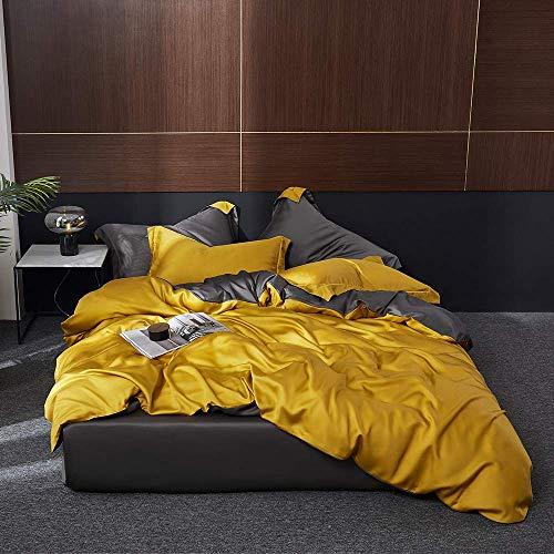 AMYZ Juego de Ropa de Cama de 100% Seda Amarilla Juego de Funda nórdica QueenKing de Belleza Saludable con sábana Ajustable y Funda de Almohada para un sueño reparador,tamaño