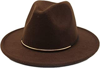 Lei Zhang Fashion Men Women Wool Fedora Hat Travel Church Casual Hat Wide Brim Fascinator Hat Adult Hat Size 56-58CM