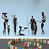 Divertido guerrero africano sofá tribales mujeres africanas hermosas pegatinas de pared de vinilo | Regalos de la fiesta de cumpleaños del cuarto de niños del dormitorio de los niños