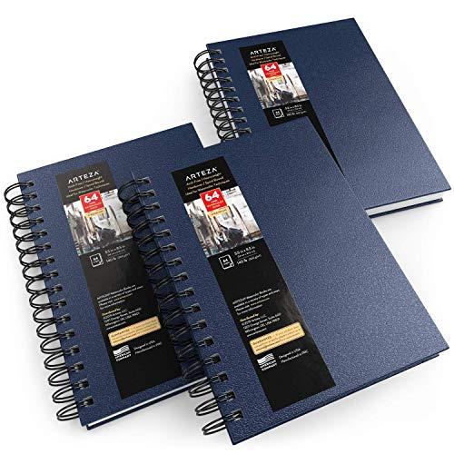 Arteza Cuadernos de acuarela, 5.5x8.5' (14 x 21,6 cm), pack 3 diarios tapa dura azul, total 96 hojas, papel acuarela 300 gsm, bloc espiral, también con gouache, acrílico, lápiz, medios húmedos y secos