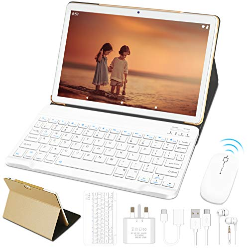 10'' Tablet Android 9.0 Pie OS GOODTEL G3 Tablets with Quad-Core 4GB RAM 64GB ROM, Dual Cameras ( 5MP + 8MP ) | Wi-Fi | HD IPS Display | Type-C | Bluetooth 4.0 | Keyboard | Mouse - Gold