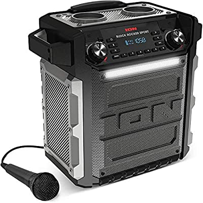 ION Audio Block Rocker Sport - 100 W Waterproof (IPX4) Outdoor Wireless Bluetooth Speaker with LED Light Bar, Radio, Aux Input and Microphone from inMusic Europe Limited