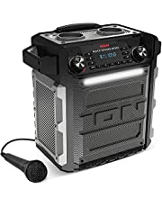 iOn Audio Block Rocker Sport - 100W Ultra-draagbare Waterbestendige Aangedreven Luidspreker met Heroplaadbare Batterij, Bluetooth, Microfoon, AM/FM-radio, Light Bar en Aux-ingang, zwart
