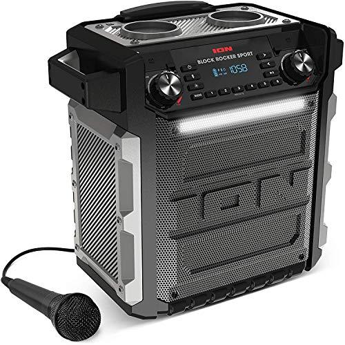 ION Block Rocker Sport Black - Altavoz Impermeable Ultra-Portátil de 100 Vatios con Batería Recargable de Larga Duración, Bluetooth, Micrófono, Radio Am/FM, Barra de Luces y Entrada Auxiliar