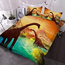 ENJOHOS 3D Dinosaur Bedding Set Jurassic World Theme Box Stitched Bedspread Quilt Twin Size Soft Comforter for Kids Boys Teens, 3 Pieces