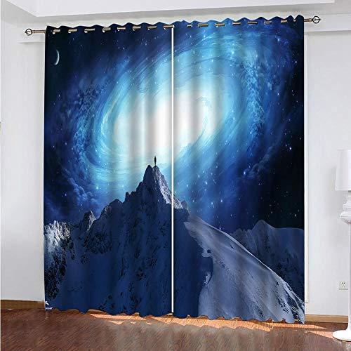 DRFQSK Cortinas Opacas 3D 2 Piezas 150 X 270 Cm(An X Al)Salón Dormitorio Decoración De La Ventana Cortinas Termicas Aislantes Frio Y Calor Con Ojales Paisaje De Montaña Nevada De La Vía Láctea Cortina