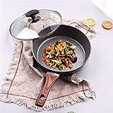 Sartén para freír de utensilios de cocina Sartén antiadherente con cacerola de recubrimiento Engrosamiento de piedra Médico Pan Pan PanCke Filete Pan para la cocción de la inducción de gas (Color: sin
