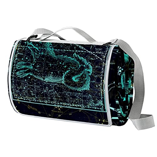 Manta de picnic portátil de 57 x 59 pulgadas, impermeable, para playa, viajes, camping, césped, música, festival, animal, galaxia