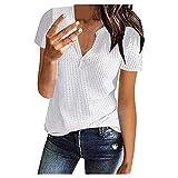 WXDSNH T-Shirt da Donna Top A Maniche Corte con Scollo A V A Maniche Corte in Puro Colore