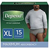 Depend FIT-FLEX Incontinence Underwear for Men, Maximum Absorbency, Disposable, XL, Grey,...