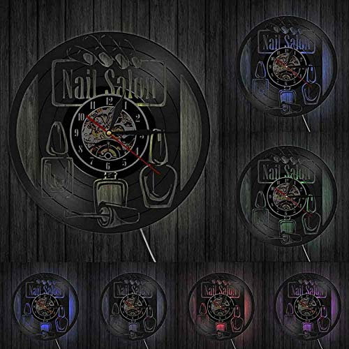 KDBWYC Reloj de Pared de manicura salón de Belleza de uñas Estudio decoración de Pared Esmalte de uñas Disco de Vinilo Reloj de Pared Esteticista Vintage Estilista Regalos