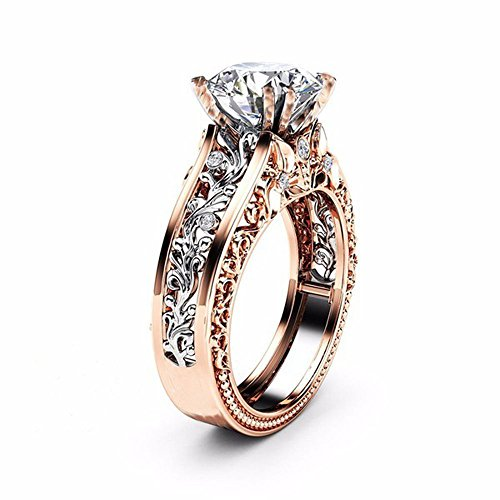 HINK Fashion Women Color Separation Rose Gold Wedding Engagement Floral Ring Rings Jewelry & Watches For Woman Valentine Easter Gift
