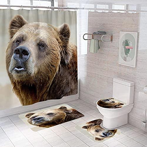 Badezimmer Teppich Duschvorhang vierteilige Graubrauner Tierbär Toilette Badewanne Anti-Rutsch Wasserdicht Polyester Duschvorhang Bodenmatte Set150 × 180 cm