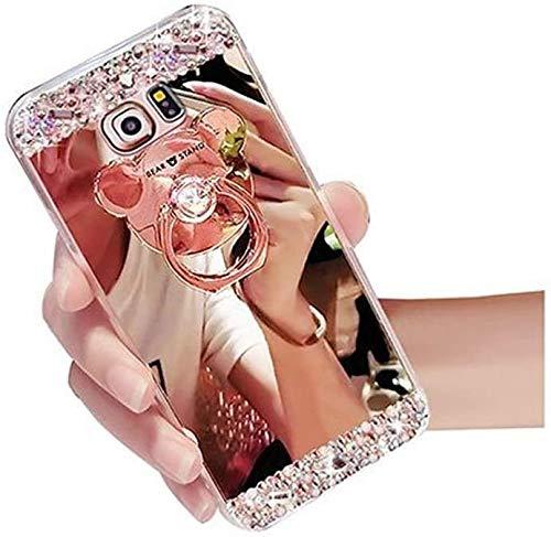 Miagon Hülle Glitzer für Huawei P40 Lite,Kristall Glänzend Strass Diamant Überzug Spiegel Bewirken Weich Silikon Schutzhülle mit Bär Ständer