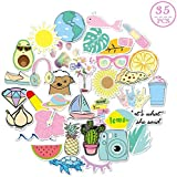 Stickers for Hydro Flask,Girls Stuff,Cute Waterproof Trendy Stickers for Teens,for Hydro Flasks Luggage Mirrors Travel Phone - Scrapbook Decals for Teens Girls 35 Pack (100% Vinyl)