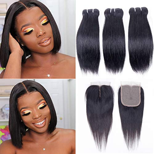 Peruvian Straight Hair Human Hair 3 Bundles with T Part Closure (10/10/10/+8,50g/pc) Unprocessed 10A Straight Virgin Human Hair Bundles with Closure Remy Hair Bundles with 4X1 Hand-Tied Lace Closure