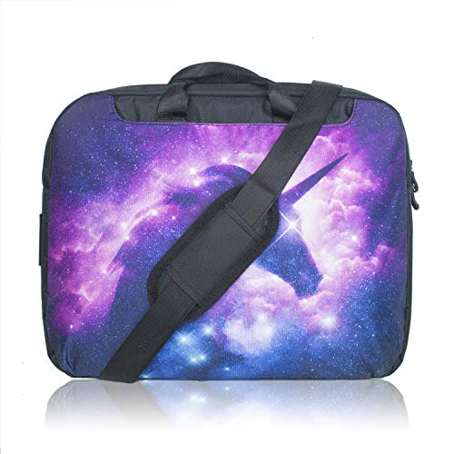 TaylorHe 15.6 inch 15 inch 16 inch Hard Wearing Nylon Colourful Laptop Shoulder Bag with Patterns, Side Pockets Handles and Detachable Strap Unicorn in Colourful Sky