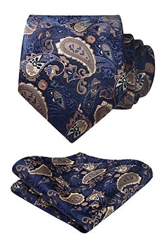 HISDERN Paisley Floral Wedding Party Prom Tie Panuelo Corbata y bolsillo cuadrado de los hombres