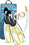 Cressi Pluma - Accesorios para buceo (gafas de buceo, snorkel y aletas, con bolsa) Clear / Yellow Talla:10/11 - 45/46