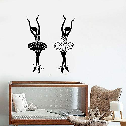 Calcomanía de vinilo para pared, dibujos animados, estudio de Ballet, bailarina, pegatina de bailarina, Mural artístico, salón de baile, niña, dormitorio, decoración del hogar