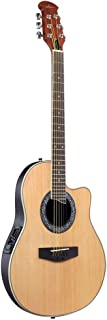 ADM Full Size Acoustic Electric Cutaway Guitar, Round Back Round Hole with 3-Band EQ, Natural