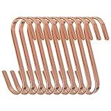 Ganci a S 11 cm Gancio Appendiabiti a Forma di S in Acciaio Inox Multifuzionali Gancetti Ideal per Utensili da Cucina, Asciugamani, Vestiti, Piante, Attrezzi da Giardinaggio 10 Pezzi (Oro Rosa)