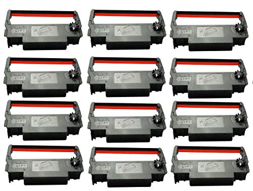 Generic EP30R Compatible Ink Ribbon for Epson ERC 30/34/38, Black/Red, 12 Piece