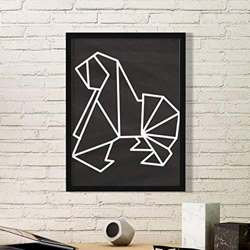 DIYthinker Resumen de Forma geométrica Arte Pintura del Perro de Origami Foto de la Imagen del rectángulo de Madera del hogar del Marco Regalo decoración de la Pared Medio Negro