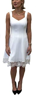 Donna Ricco Women's Sweetheart Neck Crochet Hem Fit and Flare Dress