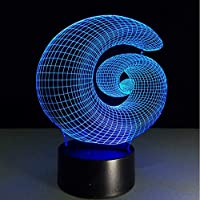 Abstract Acrylic 3D Stereo Vision Lamp 7 Color Change Interior Decorative Lamp Touch Switch Bedroom Bedside Lamp