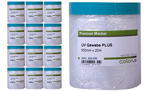 12 x Colorus Masker Tape PLUS UV Gewebe 20 Meter mit 55 cm Abdeckfolie - Tape Folie Klebeband - Maskerband - Gewebemasker ? Abdeckband ?