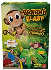 Swing into fun with Banana Blast! Players pull bananas from the treetop...until the monkey jumps! Keeps kids engaged because every player gets a chance to catch the monkey A game of mounting excitement, reflexes, and hand-to-eye coordination Includes...