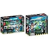 PLAYMOBIL Ghostbusters Ecto-1 con Módulo de Luz y Sonido, a Partir de 6 Años (9220) + Cazafantasmas Spengler and Ghost Playset de Figuras de Juguete, Multicolor, 6,6 X 14,2 X 14,2 Cm (9224)