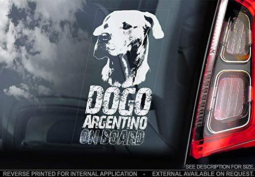 Sticker International Dogo Argentino - Adesivo Auto - Cane Firmare Finestrino, Paraurti Adesivi Regalo - V003 - Bianco/Trasparente - Interno Reverse Stampa, 190x100mm