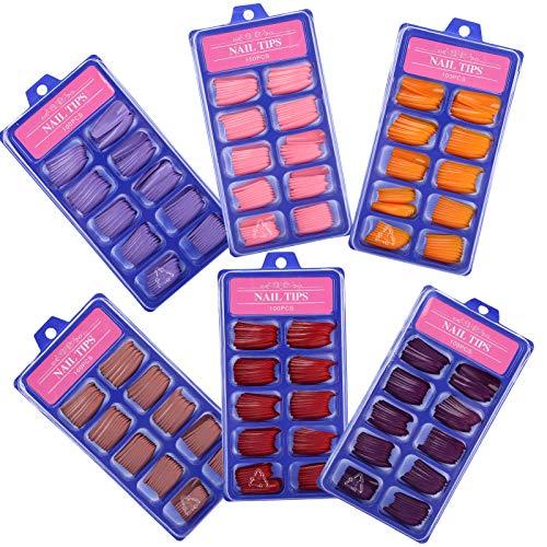 Uñas postizas Uñas 6 colores Hogar para decoración de uñas Salo de uñas para extensión de uñas