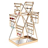 MORIGEM Ferris Wheel Rotating Earring Holder, Champagne Gold Jewelry Organizer with Mirror Tray Organizer, Metal Jewelry Holder for Earrings, Bracelets & Rings