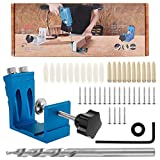 ODOMY 46PCS 15 Degree Pocket Hole Screw Jig, Dowel Drill Joinery Kit Hole Positioner Locator Tool Holes for Woodworking Angle Drilling Holes (Blue)