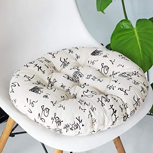vctops Bohemian Soft Round Chair Pad Garden Patio Home Kitchen Office Seat Cushion Calligraphy Diameter 18'